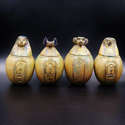 Fine Antique Egyptian Faience Set 4 Canopic Jars (Organs Storage Statues)..LARGE