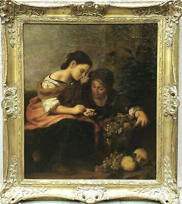 """ANTIQUE  BAROQUE OIL PAINTING ON CANVAS WITH FRAME """"SELLER OF FRUIT""""1700 circa"""