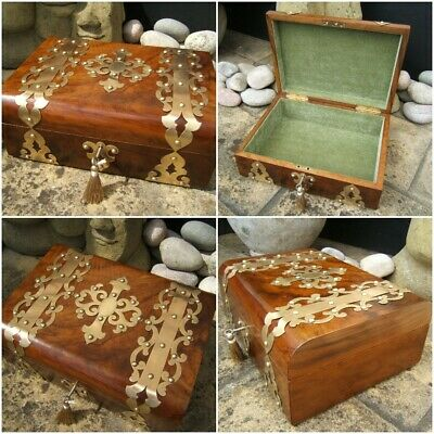 SUPERB LARGE 19c ANTIQUE OLIVEWOOD DOCUMENT/JEWELLERY BOX  FAB INTERIOR
