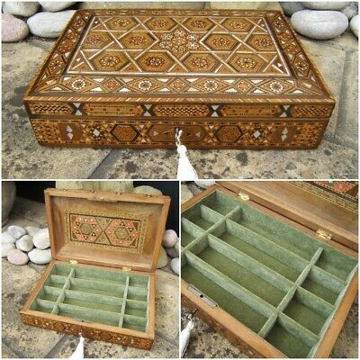 Terrific Large 19C Damascus Inlaid Antique Jewellery Box - Fab Interior