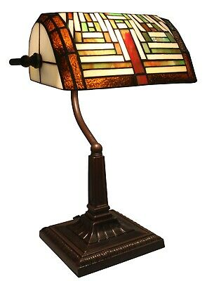 38Cm Tiffany Style Bankers Table Lamp Art Deco Glass Shade Free Bulb