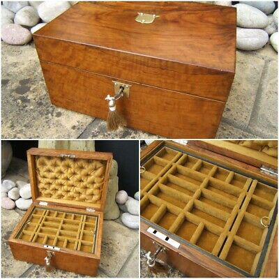 Wonderful 19C Antique Victorian Figured Olivewood Jewellery Box - Fab Interior