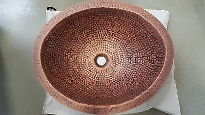 Handmade Oval Hammered Coffee Finish Copper Undermount Bathroom or Bar/Prep Sink