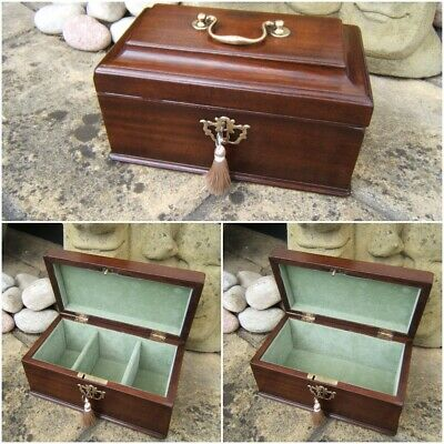 Lovely 18C Mahogany Antique Document/Jewellery Box - Fab Interior
