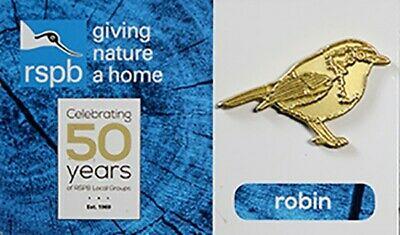 RSPB GNaH Gold Robin Pin Badge On Card - RSPB 50 Years Of Local Groups