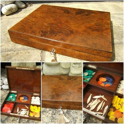 SUPERB RARE 19c FRENCH BURR ELM ANTIQUE GAMES BOX -ORIGINAL INTERIOR