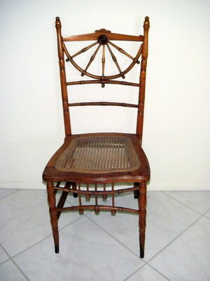 Pair AnTiQuE BALL & STICK MAPLE CHAIRS, CANE SEATS, CAPTAIN'S WHEEL BACK