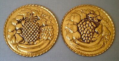 "Pair (2) Vintage 6"" Embossed Fruit Brass Wall Plates Hanging Home Decor ENGLAND"