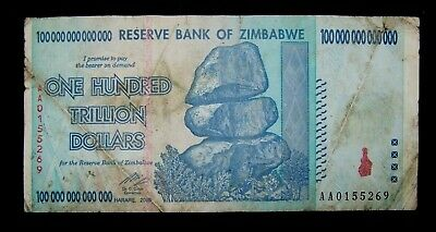1 x Zimbabwe 100 Trillion dollar banknote-LOW GRADE/POOR CONDITION