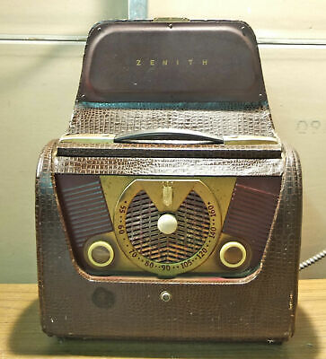 Vintage 1951 Zenith Portable Tube Battery Radio Model H503/Chassis 5H41/49CZ709