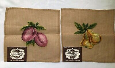 Elsa Williams Needlepoint Canvas Vintage Fruit Two Hand Embroidered In Madeira