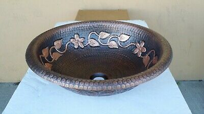 Hand Made Round Copper Top Mount Bathroom or Bar/Prep Sink with floral design