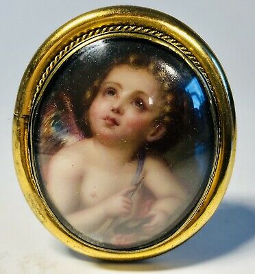 Antique 19th Century Hand-Painted Porcelain Cherub Beveled Glass 10K Gold Pin
