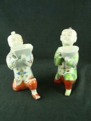 Pair - Decorative Chinese / Oriental Kneeling Figures With Bowls Incense Burners