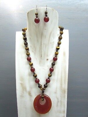 """16"""" Tigers eye Carnelian Necklace round bead with Agogo Pendant Free Earrings"""
