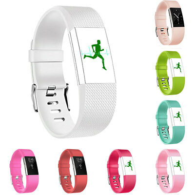 HK- Silicone Watch Band For Fitbit Charge 2 Replacement Bracelet Heart Fitness U