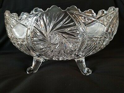 Vintage Lead Crystal Glass Footed Oval Centerpiece