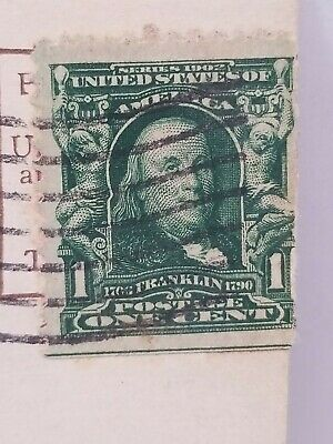 RARE GREEN LINE 1902 Ben Franklin One Cent Stamp with bottom edge green line