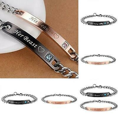 Romantic Her Beast King His Beauty Queen Couple Lovers Bracelet Party Gift  Soft