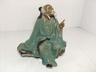 """Vintage Chinese Mud Man Sitting On A Rock Pointing Figurine 6.25"""""""