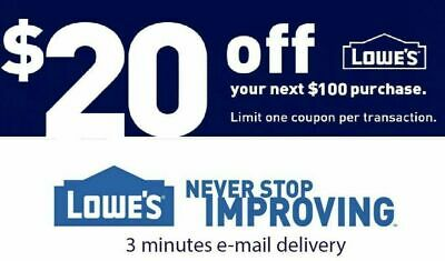 Two Lowe's Printable 2Coupons $20 off 100$ Instore / Online Fast Email Delivery