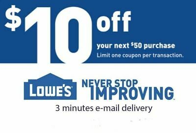 THREE $10 off 50$ LOWES 3Coupons Discount - Lowe's In store/online - Fast Email