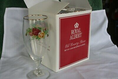 Royal Doulton Albert English Old Country Roses 4 Nib Wine Goblet Gold Trim