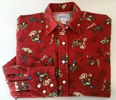 "Rockmount Ranch Wear Shirt M ""Old West"" Theme Print Red Cowboys Horses Broncos"