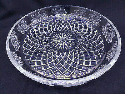 Vintage Retro Large Pressed Cut Crystal Glass Charger Plate Tray Leaf Pattern