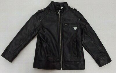 MS&Co Guess Black Leather Zip Front Insulated BOYS/GIRLS KIDS Jacket Size 4