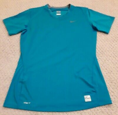 Nike Pro Girls Large Blue Polyester Blend NikeFit Short Sleeve Shirt