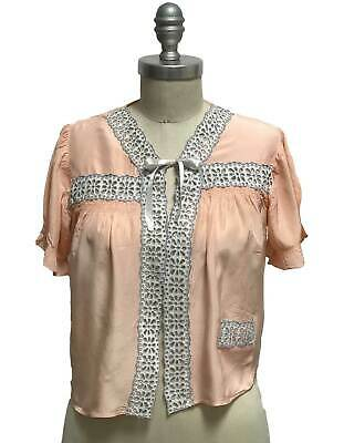 Vtg 40s Peach Rayon Bed Jacket Top Slip Coverup Embroidered Eyelet Lace Ribbon 4