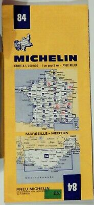 VTG MARSEILLE - MENTON FRANCE 1974 Folded Road Map MICHELIN #84COLLECTIBLE