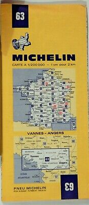 VTG  VANNES - ANGERS FRANCE  1972 Folded Road Map MICHELIN #63 COLLECTIBLE