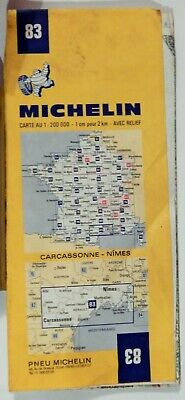 VTG CARCASSONNE - NIMES FRANCE 1973 Folded Road Map MICHELIN #83 COLLECTIBLE