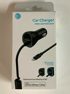 AT&T Apple Lightning Car Charger for iPhone X/XR/XS Max/8/7 Plus Extra USB Port