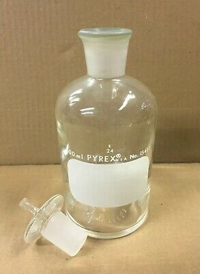 Pyrex Glass Reagent Bottle 500mL + solid glass Pyrex 24 stopper Apothecary