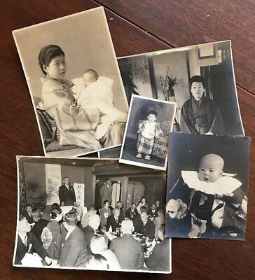 5 Old Photos Vintage Baby Mother Asian Japanese Child Dinner