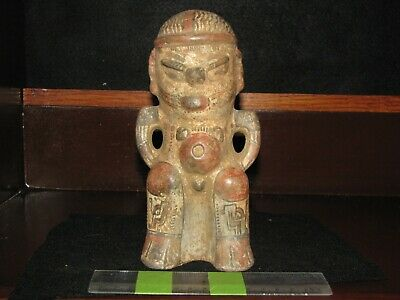 Pre Columbian, Pottery, *Tested, Costa Rican, Figure w/ Baby/Glyph , 800 1500 AD