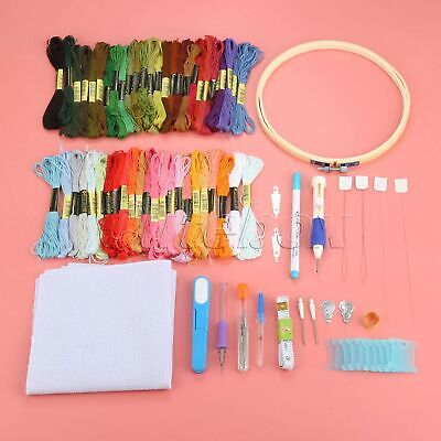 Embroidery Tool Set Colourful Cross Stitch Threads Hoop Tape Magic Pen Practical