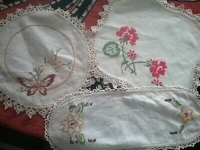 VINTAGE EMBROIDERED DOILIES  x 3 with crochet edgings
