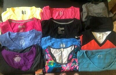 50b54959 LOT OF 12 Athletic Tops & bottoms Sz L Nike, Under Armour, Columbia Adidas  Fila
