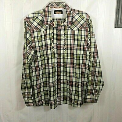Orvis Red White Green Mens Size: L Trout Bum Plaid Long Sleeve Button Down Shirt