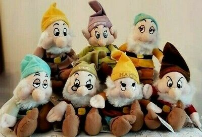 Walt Disney World Store Seven Dwarfs Plush Bean Bag Complete Set 7 Dwarves NWT