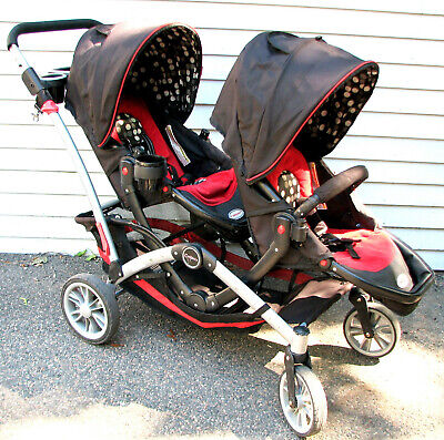 Contours Options Tandem Black&Red Twin Dual Double Folding Baby Toddler Stroller