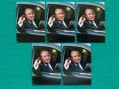 "(5) President DONALD TRUMP In Limo Gun NRA Vinyl Peel Off Stickers 2.25"" x 3.25"""