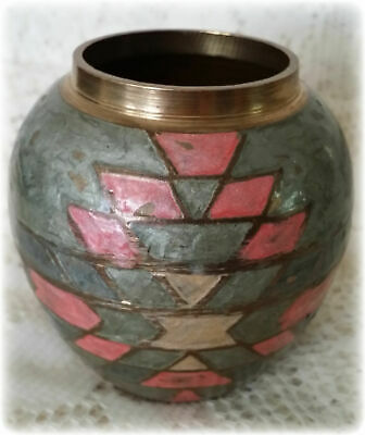 VTG Brass Vase With Hand Painted Enamel Made In India Brass, Green & Pink   R