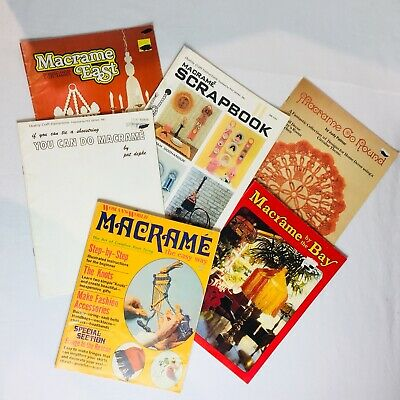 Vtg Lot 6 Macrame Pattern Books Owls Planters Lamp Shades Bags Chandeliers Table