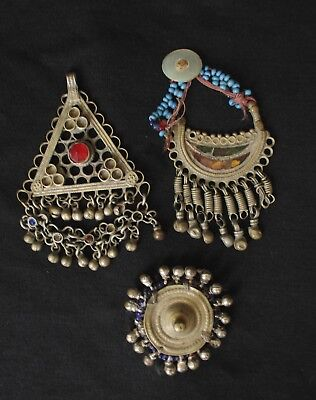 Original Old Afghan Ethnic Art, Mixed Lot of 3 Pieces Gypsy Jewelry