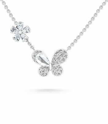 Beautiful Butterfly Flower Cubic Zirconia Pendant With 925 Solid Silver Necklace